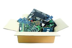 Paper box with Computer Hardware part electronic waste isolated on white. Background stock photography