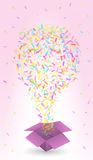 Paper box and confetti Royalty Free Stock Photography