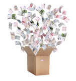 Paper box with european bank notes Stock Photography