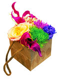 Paper box with flowers Stock Images