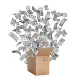Paper box with flying dollars Royalty Free Stock Photography