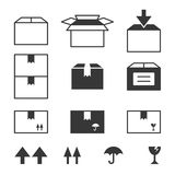 Paper box icons set with fragile sign Royalty Free Stock Images