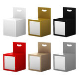 Paper box packaging with front window and hanger set, clipping p Royalty Free Stock Photos