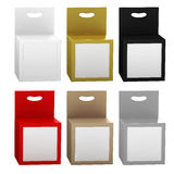 Paper box packaging with front window and hanger set, clipping p Royalty Free Stock Image
