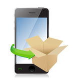 Paper Box on phone for Transportation Concept. Royalty Free Stock Photo