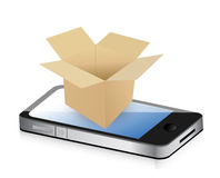Paper Box on phone for Transportation Concept. Royalty Free Stock Image