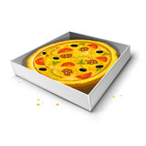 Paper box with pizza  illustration Stock Photos