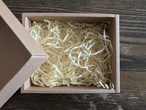 Paper box with shredded paper. Shredded paper for fragile protection Stock Photos
