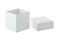 Paper box on white background. Open paper box on white background stock photos