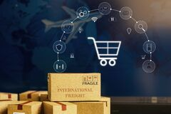 Paper boxes on notebook with icon customer network connection. Depicts transportation, international freight, global shipping,