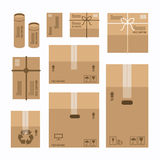 Paper Boxes Set Product Package Mockup Design. Royalty Free Stock Photos