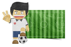 Paper boy  ( football field ) recycled papercraft Stock Photos