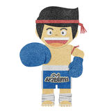 Paper boy ( muay thai kick Boxer ) recycled paper Stock Images