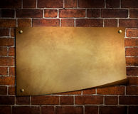 paper on brick wall background Royalty Free Stock Photography