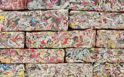 Paper Bricks Wall. Wall of Recycled Paper Bricks stock photography