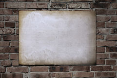 Paper on brickwall Royalty Free Stock Photos