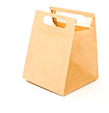 Paper brown lunch bag. Isolated Stock Image