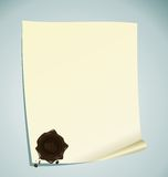 Paper with brown wax sealing Royalty Free Stock Photos