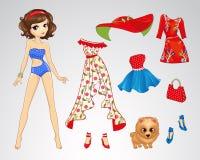 Paper Brunette Retro Doll Royalty Free Stock Image