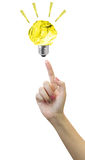 Paper Bulb light on women Fingertip on white background Royalty Free Stock Photo