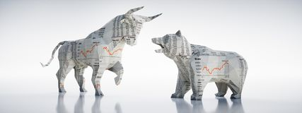 Paper Bull and bear - concept stock market vector illustration