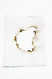 Paper with Burnt Hole. On Seamless White Background Stock Photos