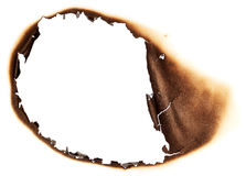 Paper with burnt hole Royalty Free Stock Photo