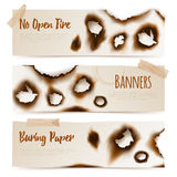 Paper Burnt Holes Banners. Set of horizontal paper banners with Burned edges and  burnt holes in realistic style vector  illustration Stock Images