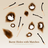 Paper With Burnt Holes And Matches. Paper with set of burnt holes and matches abstract vintage background in realistic style vector illustration Stock Images