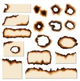 Paper burnt holes and scraps edges scorched. Paper burnt holes vector realistic set. Paper pages and sheet scraps with fire burned or scorched edges, sides and vector illustration