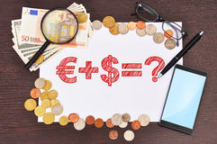 Paper with business formula Stock Images