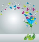 Paper butterflies. Origami  abstract background. Paper butterflies and flower Royalty Free Stock Images