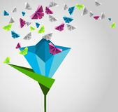 Paper butterflies. Origami  abstract background. Paper butterflies and flower Royalty Free Stock Photography