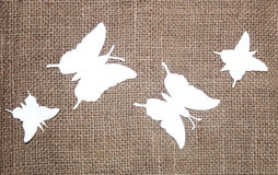Paper butterflies with jute cloth Royalty Free Stock Photo