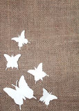 Paper butterflies with jute cloth Stock Photo