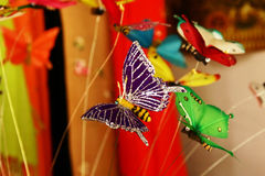 Paper butterfly. A photo of Colorful artificial butterflies. Left it uncropped for designers to work with Royalty Free Stock Photography