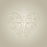 Paper butterfly on beige background. Stock Photos