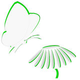 Paper butterfly and flower Royalty Free Stock Photo