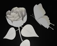 Paper butterfly and rose. Paper rose and butterfly. White and black elements Stock Image
