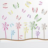 Paper Butterly and Flower. Easy to edit vector illustration of paper butterly and flower Stock Photography