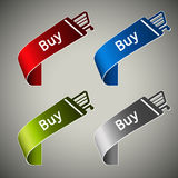 Paper buy tapes - shopping cart button. Illustration Stock Photo