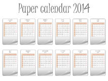 Paper calendar 2014. Against white background, abstract vector art illustration Stock Photography