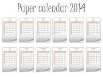 Paper calendar 2014. Against white background, abstract vector art illustration vector illustration