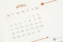 Paper calendar with text april month. Royalty Free Stock Image