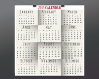 Paper Calendar-2015. 2015 calendar in us style, start on sunday, each month with individual table Royalty Free Stock Photos