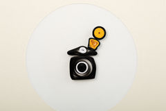Free Paper Camera On Greeting Card Made With Quilling Technique Isolated Stock Photos - 61788553