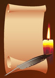 Paper_candle_bird feather. Roll of paper with a candle, and bird feather Royalty Free Stock Photo