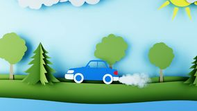 Paper car pollutes the atmosphere. Smog. Creative ecological concept. Realistic 4k animation. Paper car pollutes the atmosphere. Smog. Creative ecological royalty free illustration