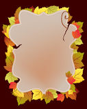Paper card with autumn leaves Stock Photography