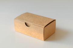 Paper card box on white background. The box is made of paper in brown colored using for pack card of something else Stock Images